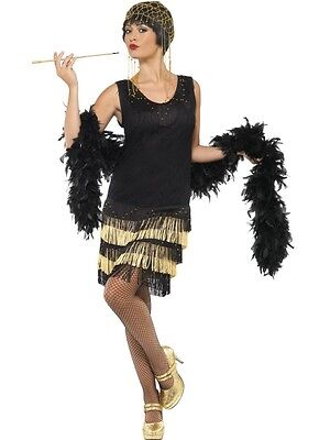 Adult Womens 1920's Fringed Flapper Costume Razzle Fancy Dress Costume - Small