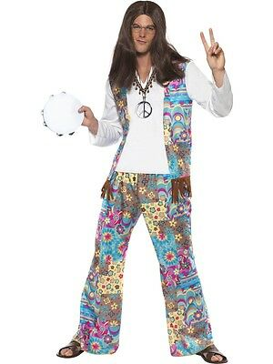 Adult Womens Groovy Hippie Costume Smiffys 1960's Cosplay Fancy Dress - Large