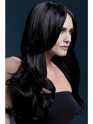 Adult Womens Black Long Straight Khloe Wig W/ Centre Parting 26In Smiffys Fever