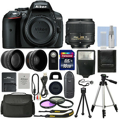 Nikon D5300 Digital SLR Camera Body + 3 Lens Kit 18-55mm VR Lens +16GB Bundle