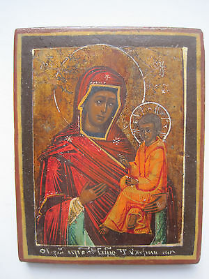 Antique Russian Orthodox Hand Painted  Icon Virgin of Tichvin 19 th. century