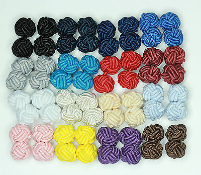 Silk Knot Cufflinks Available  24  Colours (One Tone)