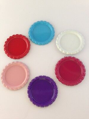 1 INCH FLATTENED COLOURED BOTTLE CAPS x 8 CLEAR EPOXY STICKERS HAIR BOW CLIPS