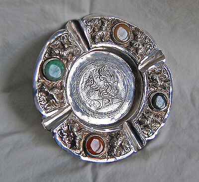 THAI SOLID SILVER COMPOTE - Animals & Semi Precious Stones (OLD)          (3G15)