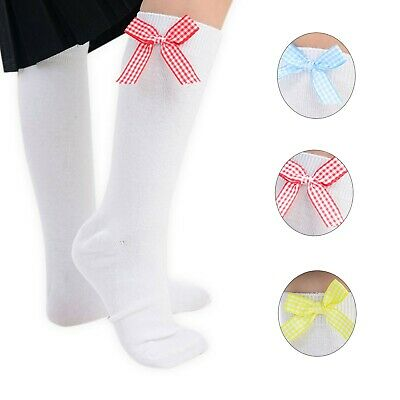 3 Pairs Girls Cotton Checker Bow Ankle Socks School Essential Sizes Available