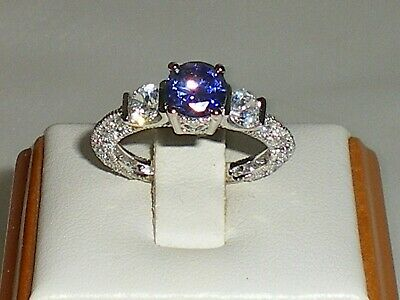Ladies Art Deco Style Sterling 925 Fine Silver Tanzanite & White Sapphire Ring