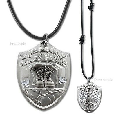 Fallen Hero Soldier Memorial Dog Tag Pendant with Black Cord Military Style