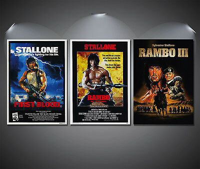 Rambo Vintage Movie Trilogy Poster Set - A4-A3-A2 Sized Sets of 3