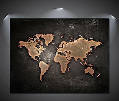 Vintage World Map Black Poster - A0, A1, A2, A3, A4 Sizes