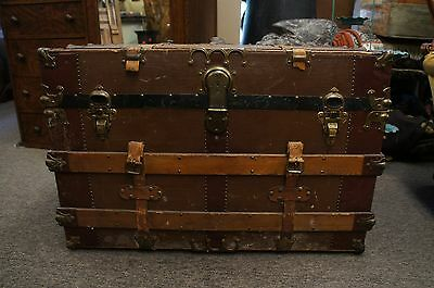 Massive Antique Victorian Canvas & Leather Steamer Trunk W/ Original Tray Chest