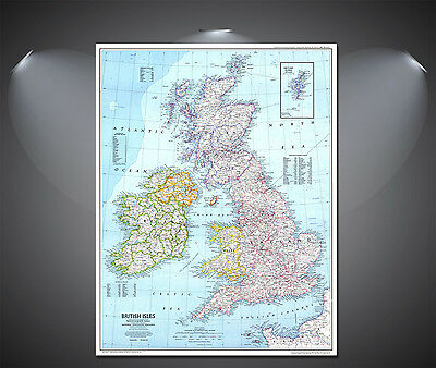 Great Britain Map Poster - A0, A1, A2, A3, A4 Sizes