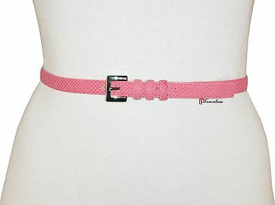 Nine West Women's Belt Dark Pink/Red Leather Blend Faux Snake $28