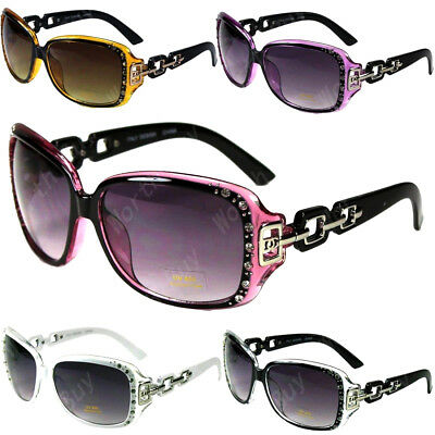 New DG Eyewear Womens Rhinestones Sunglasses Designer Shades Fashion Retro Large