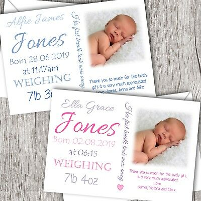 Personalised PHOTO Thank You Cards ~ Announcement//Christening Baby Girl//Boy D84