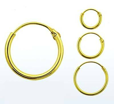 GOLD PLATED on STERLING SILVER - Hoop Earring Nose Ring - 6mm 8mm 10mm 12mm