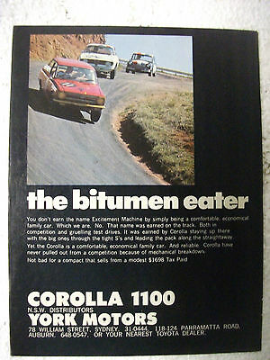 1967 Toyota Corolla Australian Magazine Fullpage Colour Advertisement