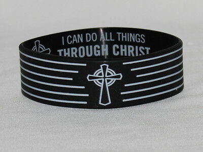Christian Cross Phil. 4:13 Black Silicone Wristband  All Things Through CHRIST