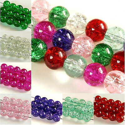 100 x ROUND~CRACKLE~GLASS BEADS~CHOOSE COLOUR, 8 MM ~ 1.5 MM HOLE