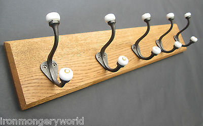 8 sizes SOLID ENGLISH OAK WOODEN HAT AND & COAT HOOKS HANGER PEGS RAIL RACK 56