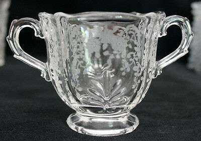 Fostoria Baroque Meadow Rose Footed Sugar Bowl Double Handles Etched Clear Glass
