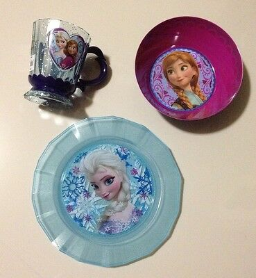 Disney Store Girls Frozen Plate Set Elsa Plate, Anna Plate And Elsa And Anna Cup