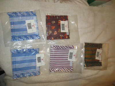 Longaberger Basket Handle Gripper lot of 5 NEW sky blue tick in fall ging