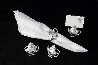 Antique Silver Plate Teapot Napkin Ring & Place Card Holders Set of 4