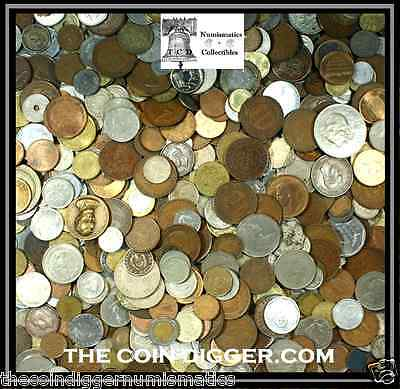 UNSEARCHED WORLD FOREIGN COIN LOTS 10 POUNDS + 5 FREE BANKNOTES ++