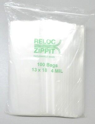 "13x18 Ziplock Bags 4 Mil Clear Poly Reclosable Large Jumbo Size13""x18"" 100 Pcs"