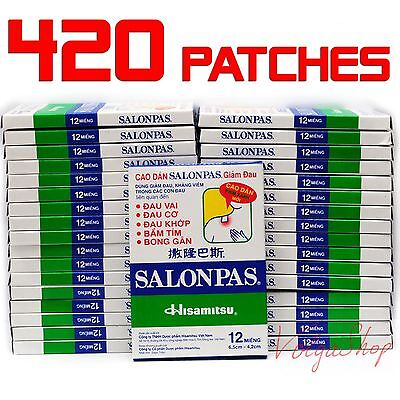 420 Patches = 35 Boxes x 12 - Hisamitsu SALONPAS - Muscle Pain Relief Plasters