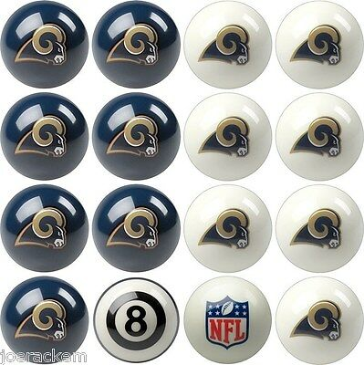 Los Angeles Rams Home and Away NFL Pool Ball Set - FREE US SHIPPING