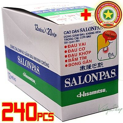 240 Patches = 20 Boxes x12 Plasters- Hisamitsu SALONPAS Muscle Pain Relief +GIFT