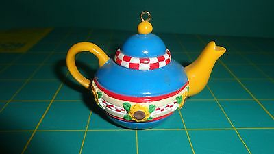 Mary Engelbreit Me Ink Teapot Ornament Blue With Sunflowers - Euc