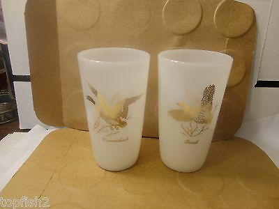 Quail & Canvasback Milk Glass Tumblers, Federal Glass, 2 Count (Used/EUC)