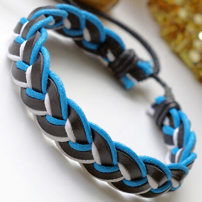 Mens Leather and Hemp Plaited Surfer Wristband Bracelet