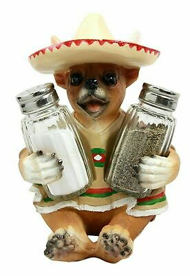 """7"""" Tall Poncho Chihuahua Fiesta Salt and Pepper Shakers Holder Kitchen Decor"""