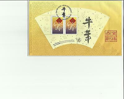 FDC  YEAR OF THE OX 1997 SOUVENIR SHEET CANADA