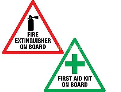 First Aid & Fire Extinguisher on Board 100mm Vinyl Sticker Label Taxi Van Bus