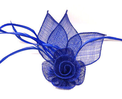 Royal Blue Flower Feather Beak Clip Fascinator Ladies Day Wedding Races 25