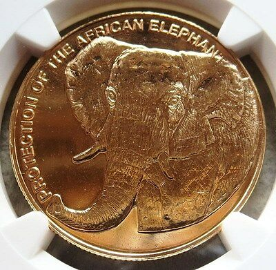 1993 Gold Equatorial Guinea 30,000 Francos Elephant Coin Ngc Ms 65 Mintage 300