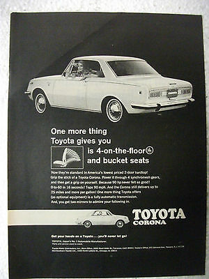 1969 Toyota Corona Hardtop Usa Magazine Fullpage Advertisement