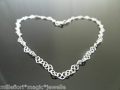 "3.5mm Sterling Silver Curly Heart Link Chain Bracelet Or Anklet 7"" 8"" 9"" 10"" 11"""