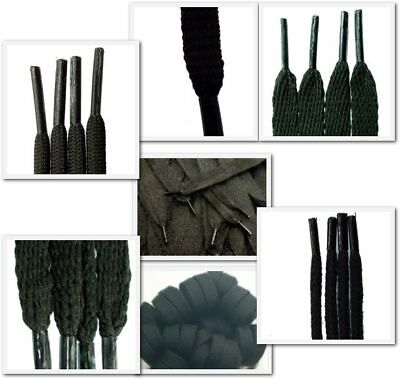 Black Laces - Round, Cord, Flat, Oval, All Lengths, For Boots, Shoes, Trainers