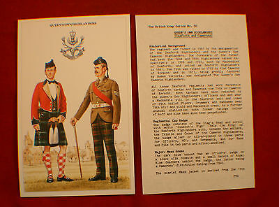 Queens Own Highlanders Postcard and Brief History - Set of 2