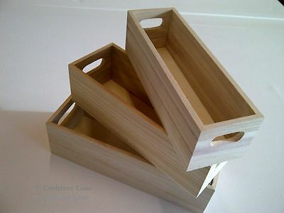 Mini Vintage Style Wooden Boxes - Set of 3 Home Storage Wooden Crate Craft GIFT