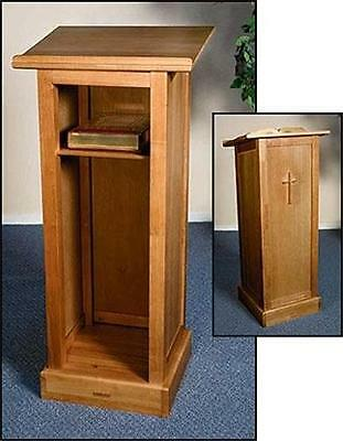 """Full Solid Wood Church Chapel Lectern Pulpit with Shelf Chruch Furniture 45""""H"""