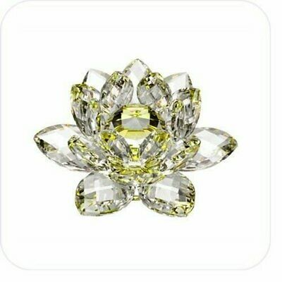 """5"""" Yellow Hue Reflection Crystal Lotus Flower FengShui Home Decor with Gift Box"""