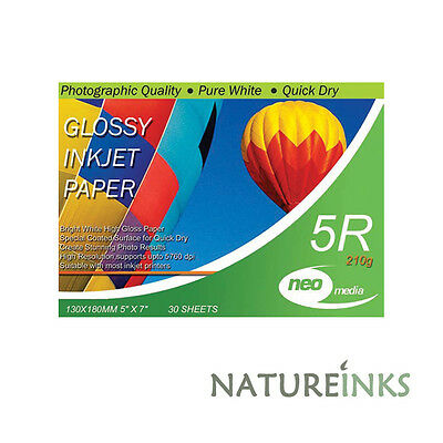 30 sheets x Neo 5R 210gsm Gloss 5 x 7 photo inkjet Quick Dry Paper 130mm x 180mm