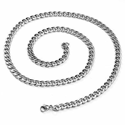 20'' Inch Polished Stainless Steel Link Necklace Curb Cuban Chain for Men Silver