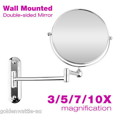Chrome Wall Mounted Folding Extending Makeup Shaving Magnifying Bathroom Mirror